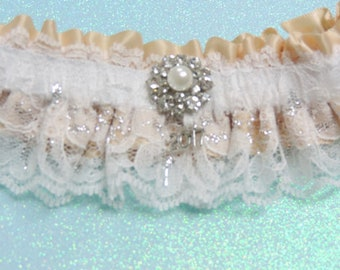 White and champagne prom garter,  Prom garters