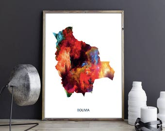 Bolivia Art Bolivia Wall Art Bolivia Wall Decor Bolivia Photo Bolivia Print Bolivia Poster Bolivia Map Bolivia Country Map Country Map Print
