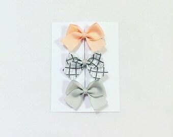 Orange grid ribbon trio clip headband set