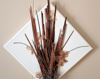 Canvas with arrangement using natural materials of dried palm fronds and hydrangea flower petals // home decor with natural elements // gift