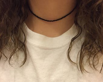 Black glass seed bead choker