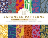 Japanese patterns digital paper set,flowers & leaves pattern designs,graphics resources,printable,web design background,JPEG