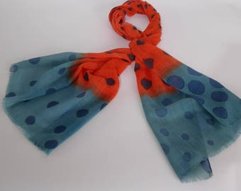 Hand painted scarf in wool Bunting