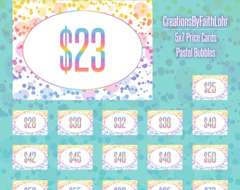 """5x7"""" Price Cards, Size Cards, and Style Cards Bundle - Pastel Bubbles Design Marketing LLR"""