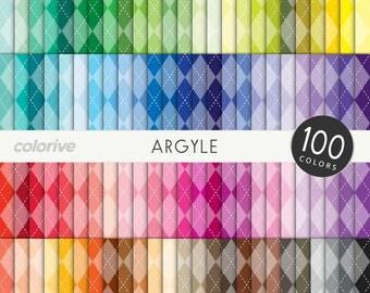Argyle digital paper 100 rainbow colors stitched diamond jacquard bright pastel printable scrapbooking paper