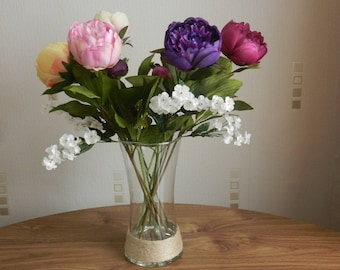 Artificial silk purple/ pink/ cream peony flower arrangement in hour glass clear vase with clear resin water new