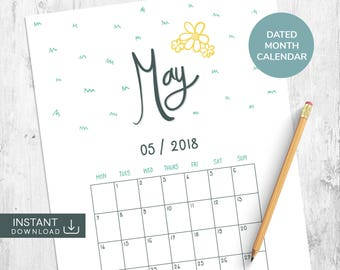 May 2018 Printable Calendar, Dated Calendar, Academic Calendar, Month Wall Calendar, Hand Lettered Calendar, Hand Drawn Calendar