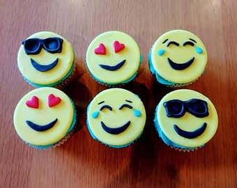 6 Edible Emoji Fondant Cupcake Toppers