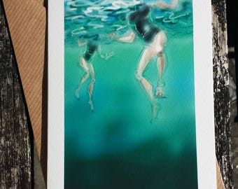 greetings card: 'Fish-Eye Lens' - art card, open water swimming, wild swimming.