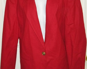 Sag Harbor Vintage Red Wool Blazer Jacket SZ 16P