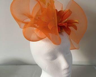 Orange Fascinator Hat, Derby Fascinator, Fancy Fascinator, Womens Fascinator Hat, Tea Party Hat, Church Hat, Derby Hat