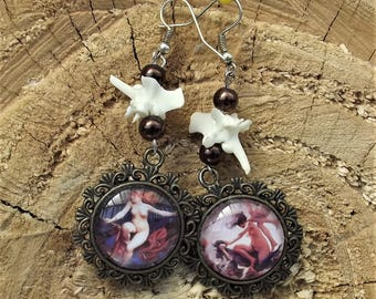 Witches snake vertebrae cameo earrings