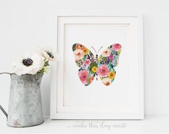 Pink Floral Butterfly Printable Nursery Wall Art Baby Girl Nursery Decor Digital Art, Make This Day Count