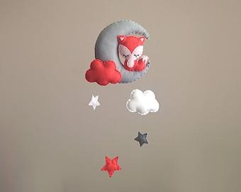 Fox Nursery Decor . Nursery Wall Art . Fox Baby Mobile . Coral Nursery Decor . Moon And Stars . Fox Wall Hanging. Girl Baby Shower Gift