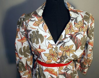 60s TROPICAL Print Dress Gray Grey Beige Red Black Palm Leave Plus Size 14 Collar 3/4 Sleeve Button Front Resort Beach Vacation Jungle Pinup
