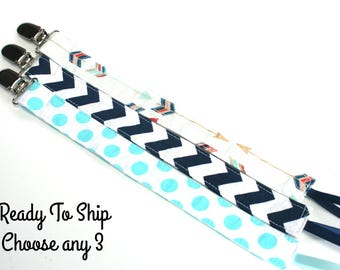 Set of 3 Pacifier Clip holders- Choose 3 Pacifier Clip Holder- Soothie or Snap- Binky Clip Holder- Pacifier Clip Holders- Aqua and Navy