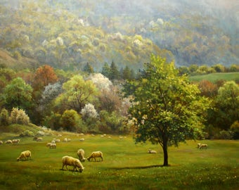 A Herd at the Foot of Stara Planina Mountain, original landscape oil painting