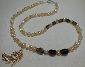 Necklace-Pearl Choker, smoky quartz and Sterling Silver
