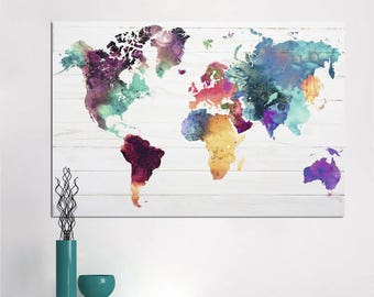 World Map Canvas Painting Wall Art Picture For Living Room Classical Watercolor Decoration Print Unframed