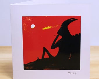 The Hare: Greeting card, quality reproduction of an original painting, (Free Post anywhere in the UK).