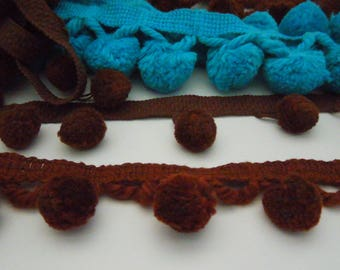 Pom pom trim grab bag of blue and brown