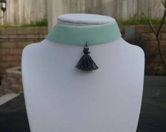 Thick Teal Choker with Grey tassel