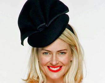 Sophia Black Felt Fascinator /Millinery, Tea Party Hat, Church Hat, Kentucky Derby Hat, Fancy Hat, British Wedding Hat, Women's Ascot Hat