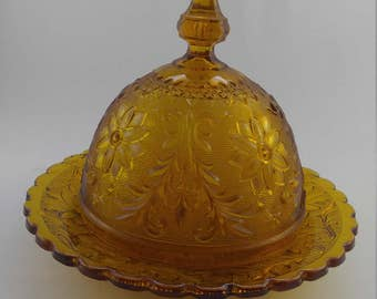 Vintage Amber Indiana Glass Covered Butter