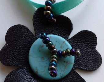 Black leather and turquoise flower necklace
