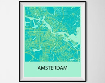 Amsterdam Map Poster Print - Blue and Yellow