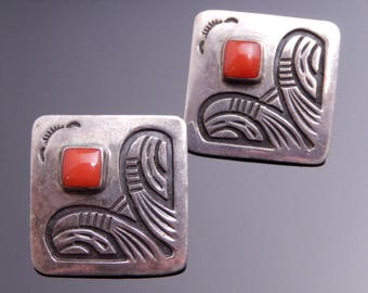 Austin Lewis Navajo Vintage Silver Coral Southwest Motif Diamond Shape Earrings