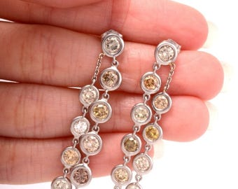 Estate 5.50ct Fancy Color Diamond 18K Gold Dangle Drop Earrings 10.4 G