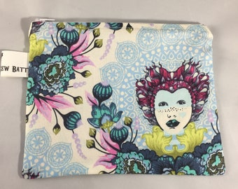 Zippered pouch, cosmetic bag, makeup bag