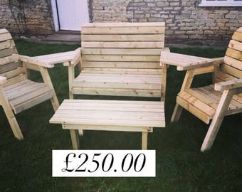 Garden furniture - wooden bench with love seat and coffee table.
