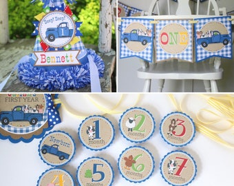 Little Blue Truck FIRST BIRTHDAY Package - High Chair Banner, Monthly Photo Banner, Party Hat