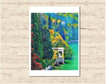 Lake Como Italy Watercolour Painting Postcard Poster Art Print Q163