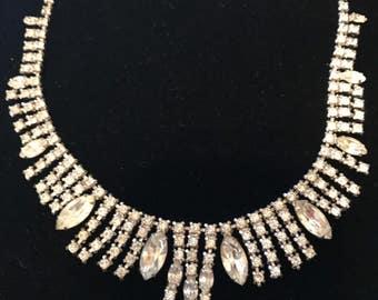 Bridal Jewelry, Statement Necklace, Necklace and Bracelet Set, Wedding Jewelry, Bridal Necklace, Keepsake, Vintage Jewelry, Rhinestones