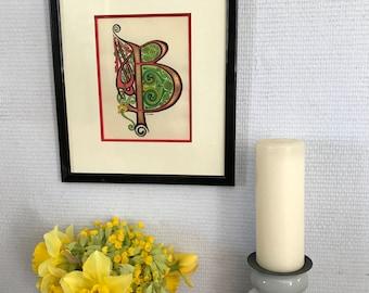 Framed original illustration, Celtic illuminated R