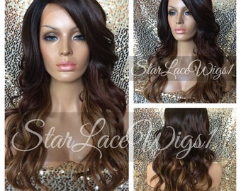 Long Brown Auburn Wavy Ombre Lace Front Wig - Layers - Side Part - Heat Resistant Safe