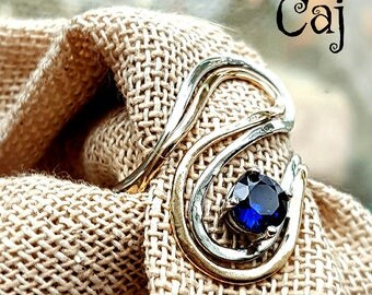 Gold & Silver Statement lab Sapphire Ring