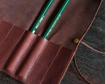 Pencil Scroll - Kangaroo Leather (Chocolate Brown)