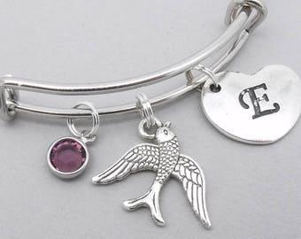 Swallow bird charm heart initial bracelet | swift bird bangle | personalised bird bracelet | swallow bird jewelry | bird gift | birthstone