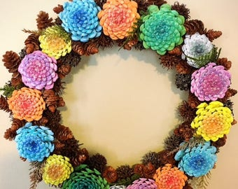 Pine Cone Wreath Zinnias pine cones wreath, pine cone flower wreath (spring summer wreath)