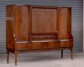 Vintage Danish mid century modern sideboard linen press cabinet walnut brass 40s