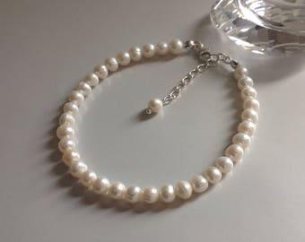 Ivory Freshwater Pearl Bracelet Handmade Bridal Jewellery 925 Sterling Silver