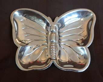 Silver Plate Butterfly Dishes Set of 2