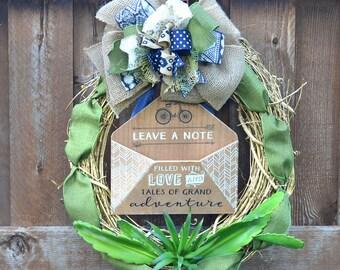 Summer Wreath, Succulent Wreath, Year round wreath, Everyday wreath, Door Wreath, Adventure Wreath, Burlap Wreath