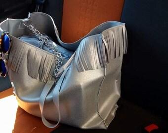Beach bag-leather fringe