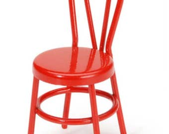 Dollhouse Miniature Small Red Metal Chair