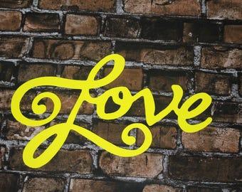 Love metal sign, per for Home Decor l Metal Art l Wall Words l